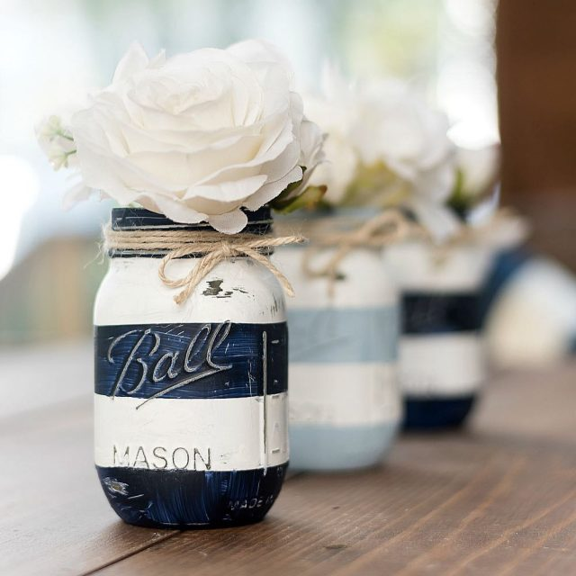 nauticalmasonjars in blue amp white stripes masonjarcrafts