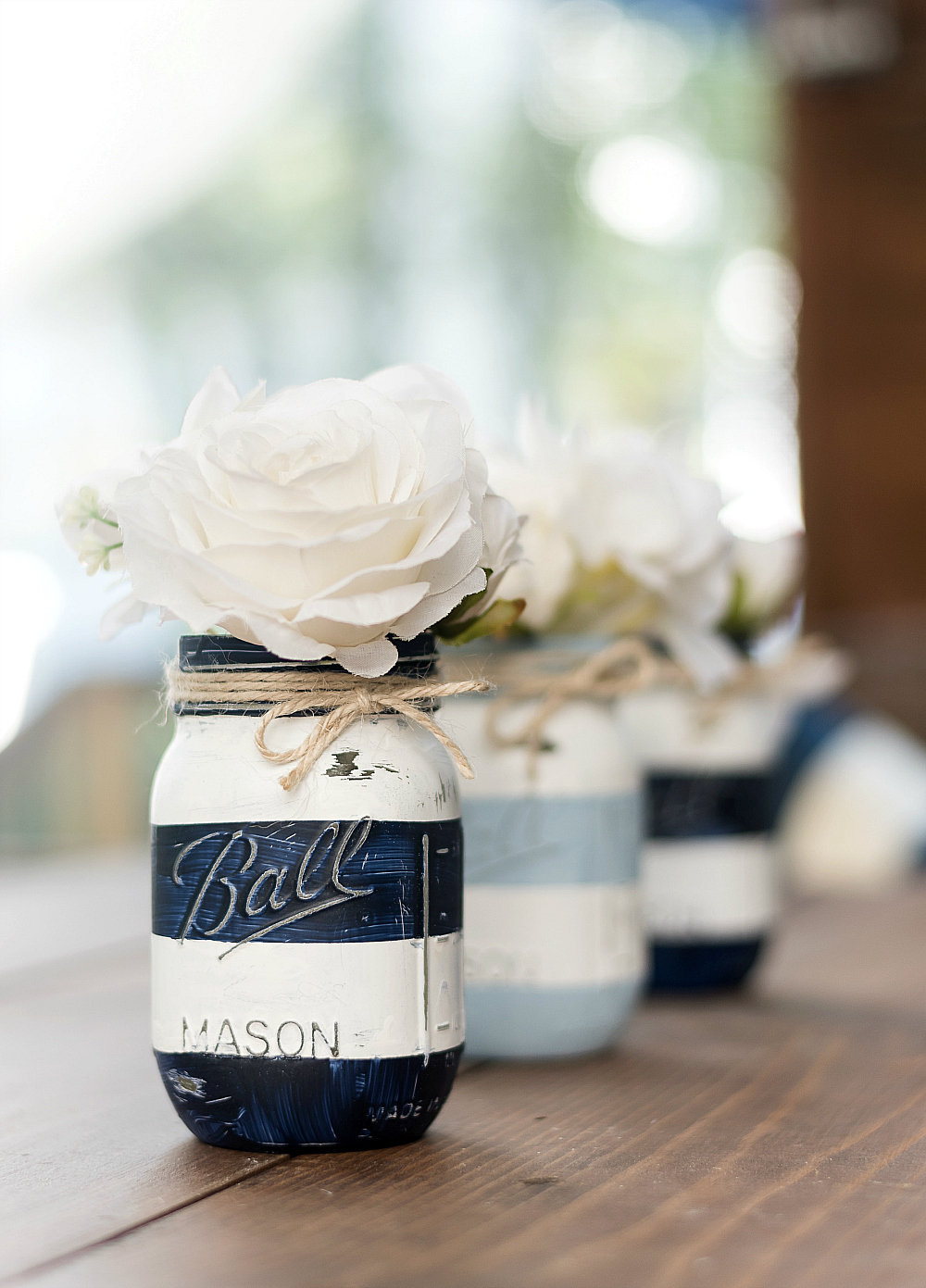 Nautical Striped Mason Jars - Painted Distressed Mason Jars