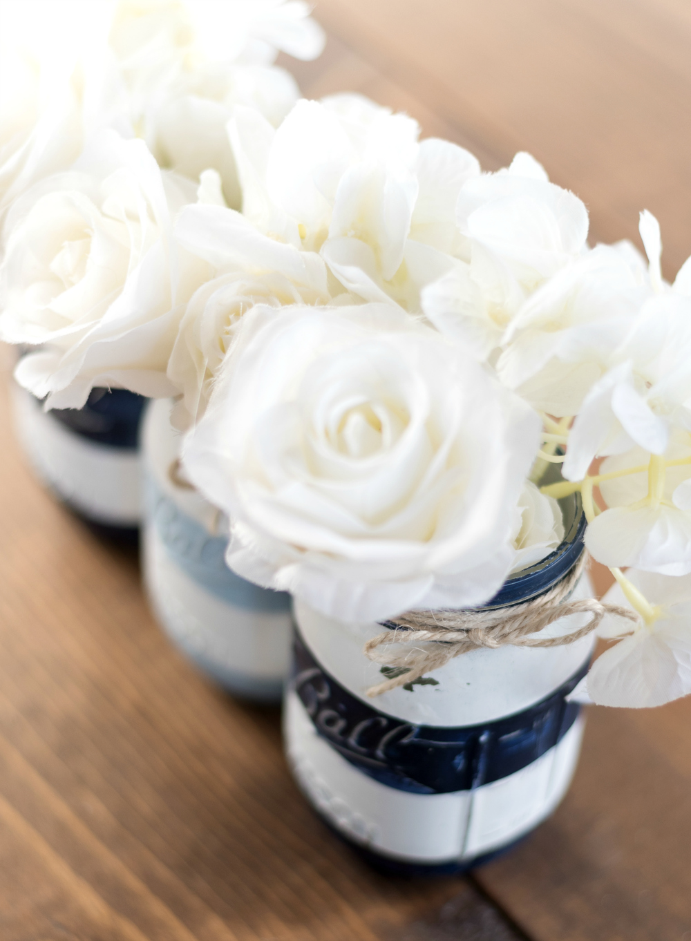Nautical Striped Mason Jars