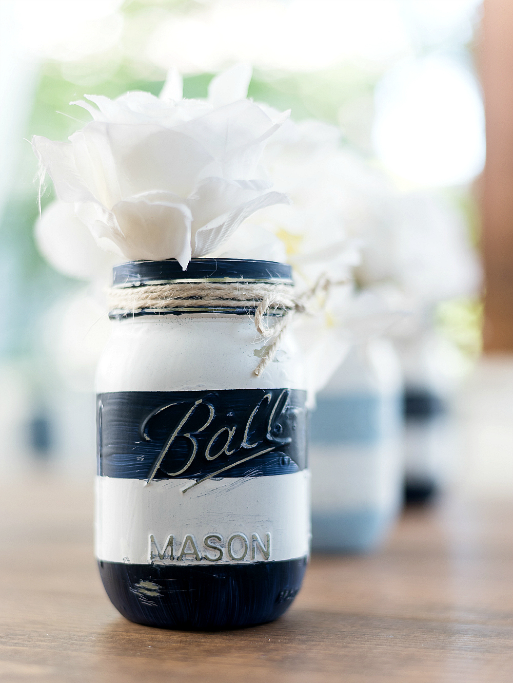 Nautical Striped Mason Jars Craft - Coastal Mason Jar - Beachy Mason Jar - Painted Distressed Mason Jar @itallstartedwithpaint.com