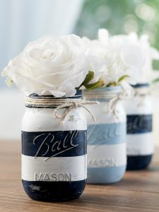 Nautical Striped Mason Jars … and is Anybody Out There?