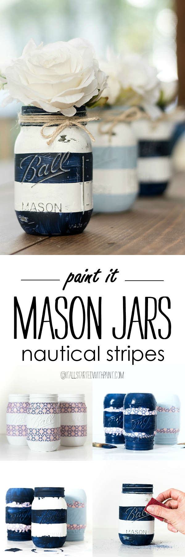 Nautical Mason Jars - Painted Distressed Mason Jars - Striped Mason Jars - Navy and White Mason Jars - Beachy Mason Jars - Coastal Stripe Mason Jars