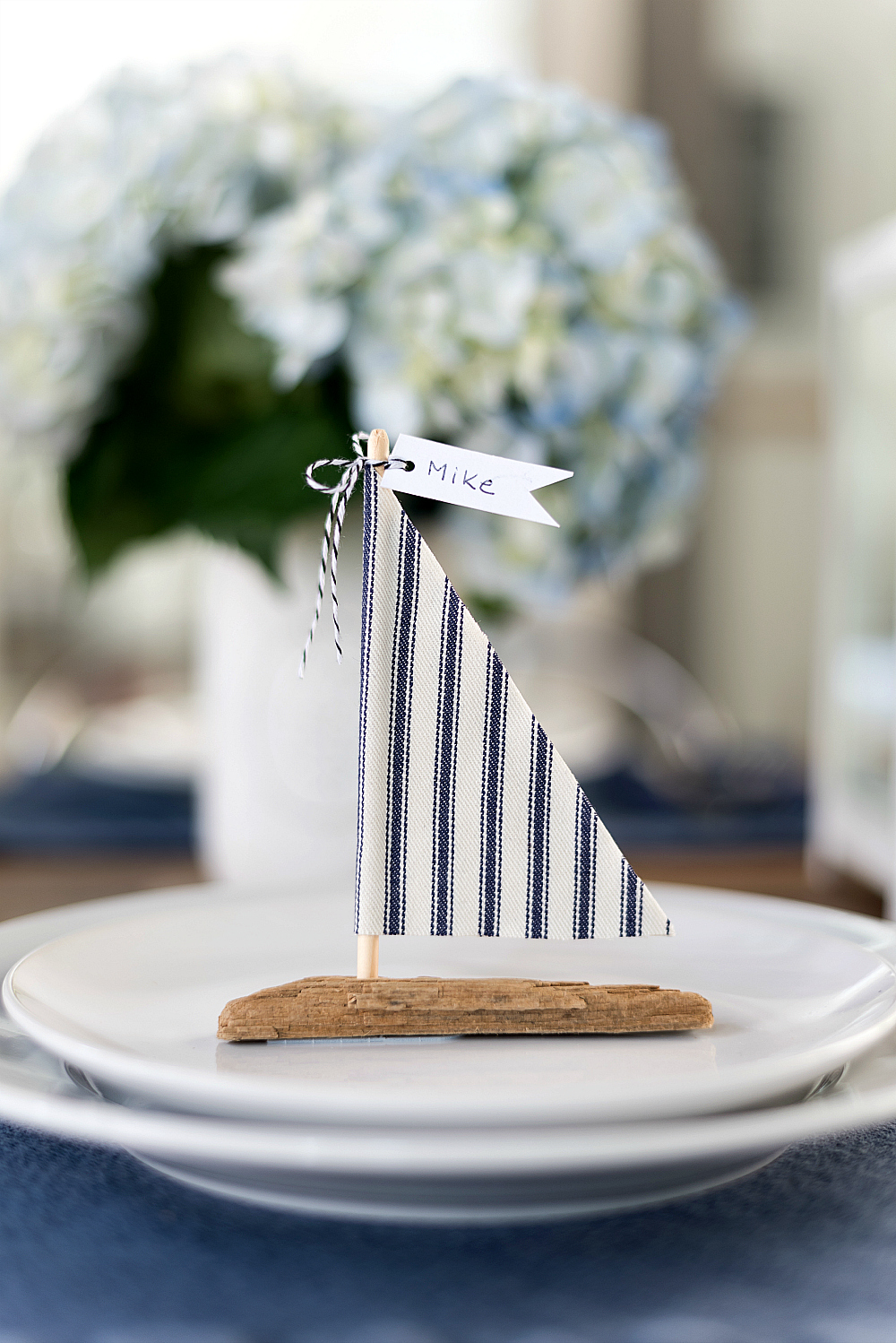 Driftwood Sailboat Place Card Holder