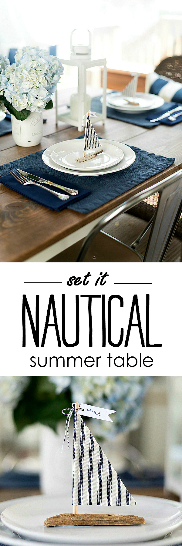 Nautical Table Setting Idea - Summer Table Setting Ideas with Navy and White @It All Started With Paint www.itallstartedwithpaint.com