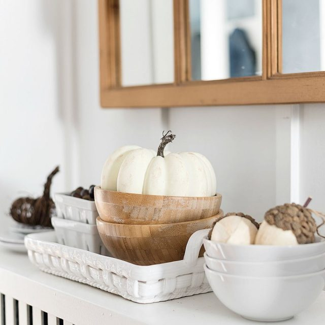 whitepumpkins falldecor on radiatorcover