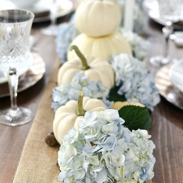 whitepumpkins and hydrangea fall centerpiece
