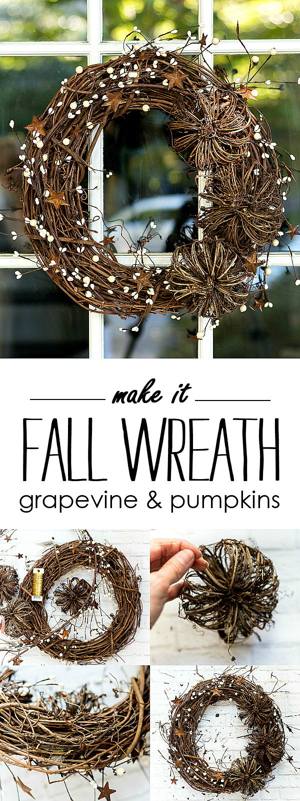 Easy Fall Wreath DIY - Grapevine & Pumpkin Rustic, Natural Wreath for Fall @ITALLSTARTEDWITHPAINT.com