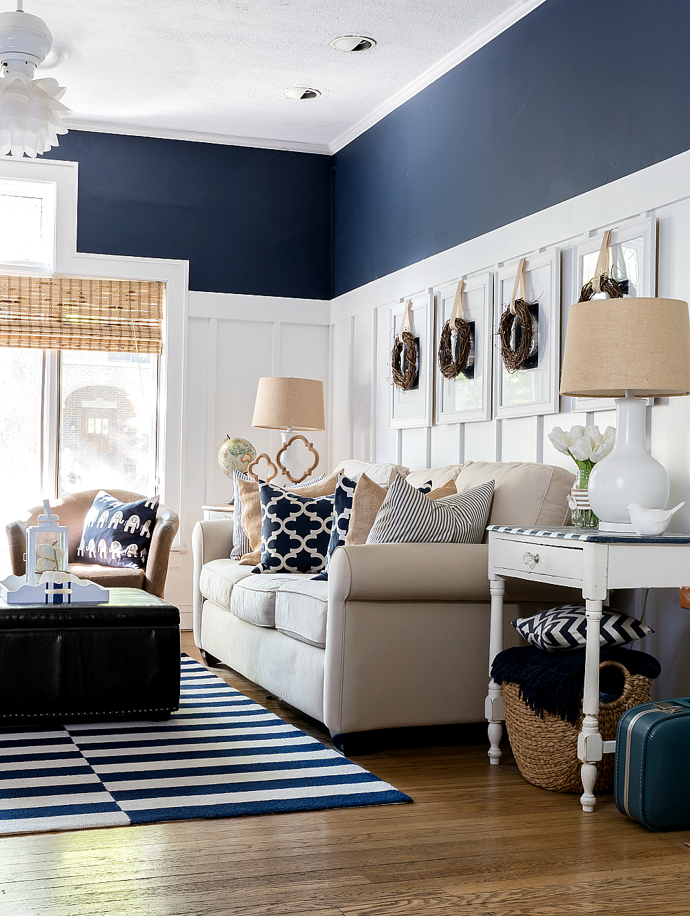 Board and Batten Living Room - Navy and White Living Room Ideas