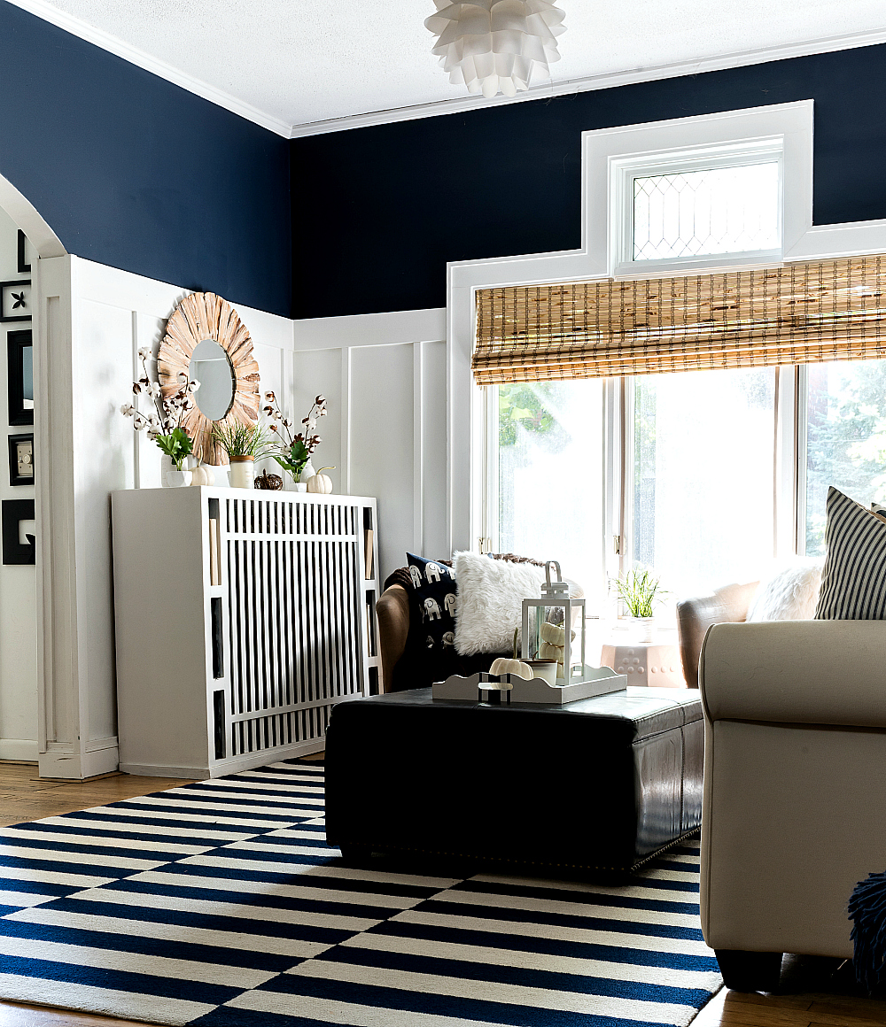 Fall Decor in Navy & White - Neutral Fall Decor Ideas - Board and Batten Living Room
