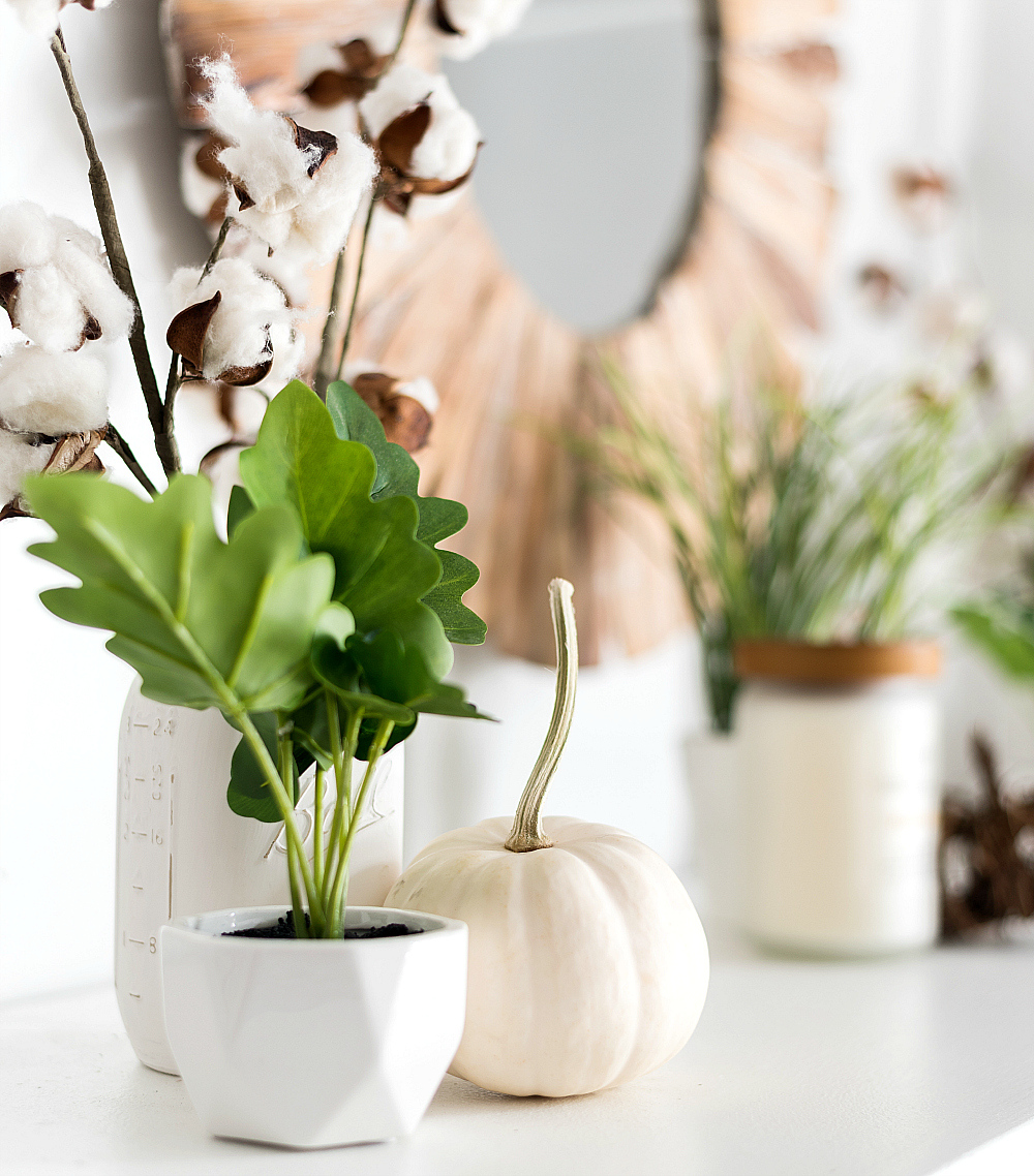 Fall Mantel Decorating with White Pumpkins, Cotton Stems