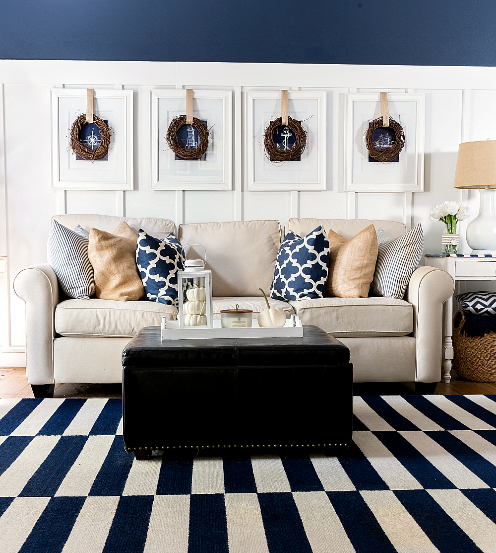Navy And White Board Batten Living Room Design: Fall Decor In Navy & White
