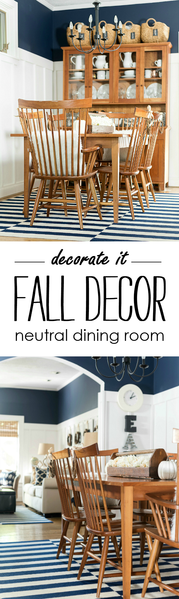 Fall Dining Room Decor - Fall Decorating in Neutrals - Navy, White, Neutrals for Fall @ITALLSTARTEDWITHPAINT.com