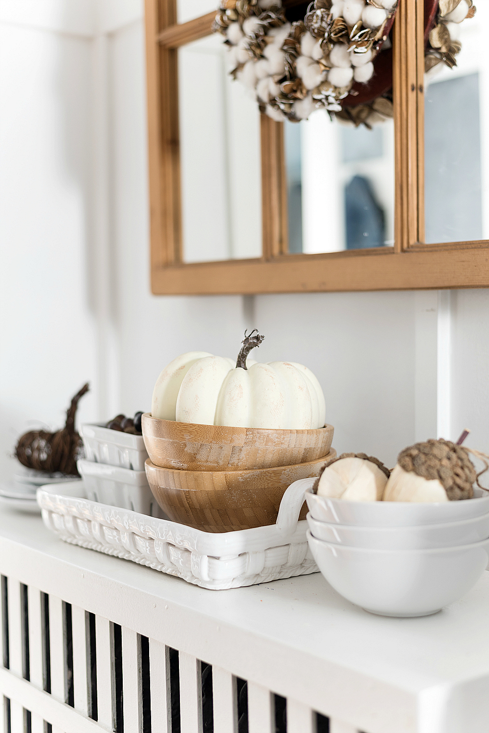 Decorating with White Pumpkins for Fall