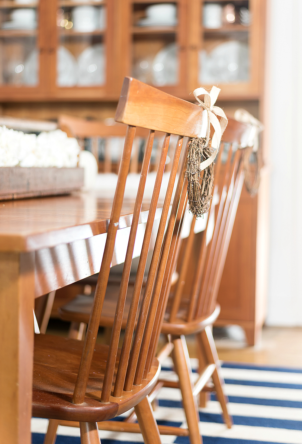 Mini Twig Wreaths on Dining Room Chairs