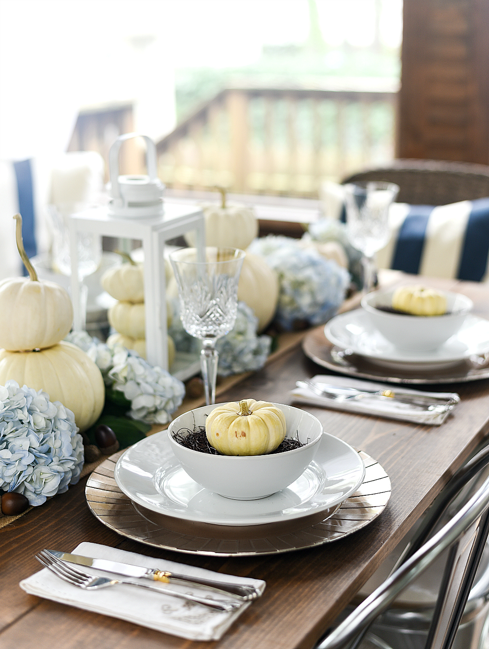 Fall Table Setting Ideas White Pumpkins, Hydrangeas
