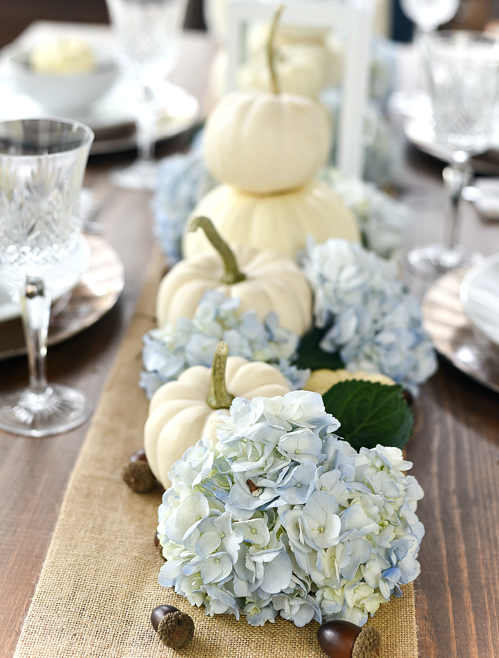 white pumpkin, hydrangea fall centerpiece