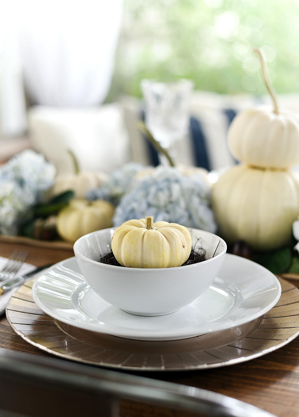 Fall Place Setting White Pumpkins in Nests