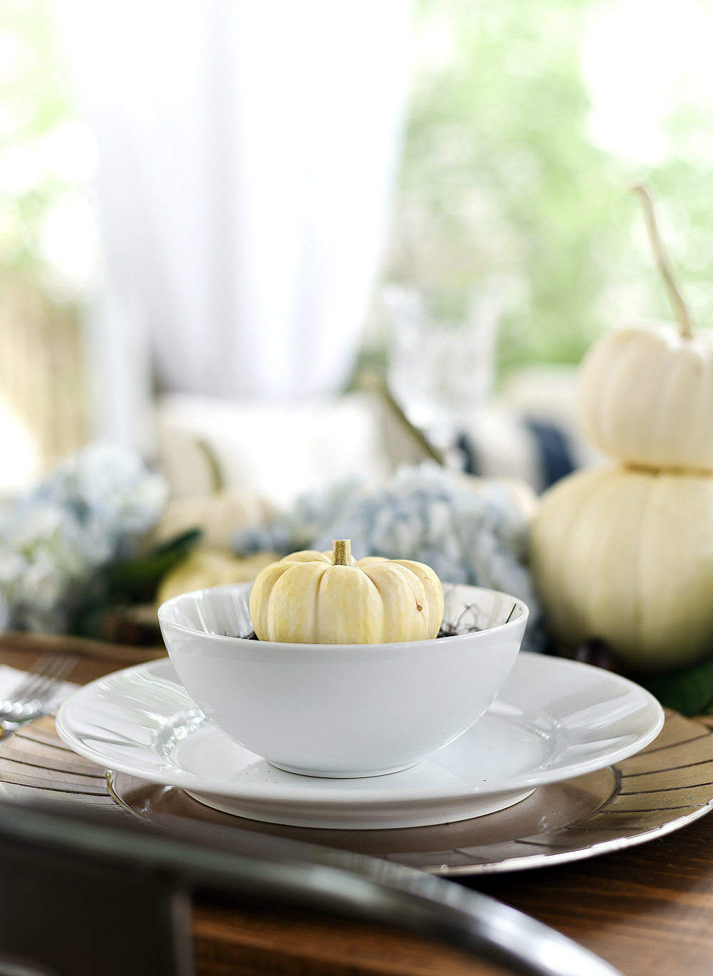 White Pumpkin Place Setting for Fall Table