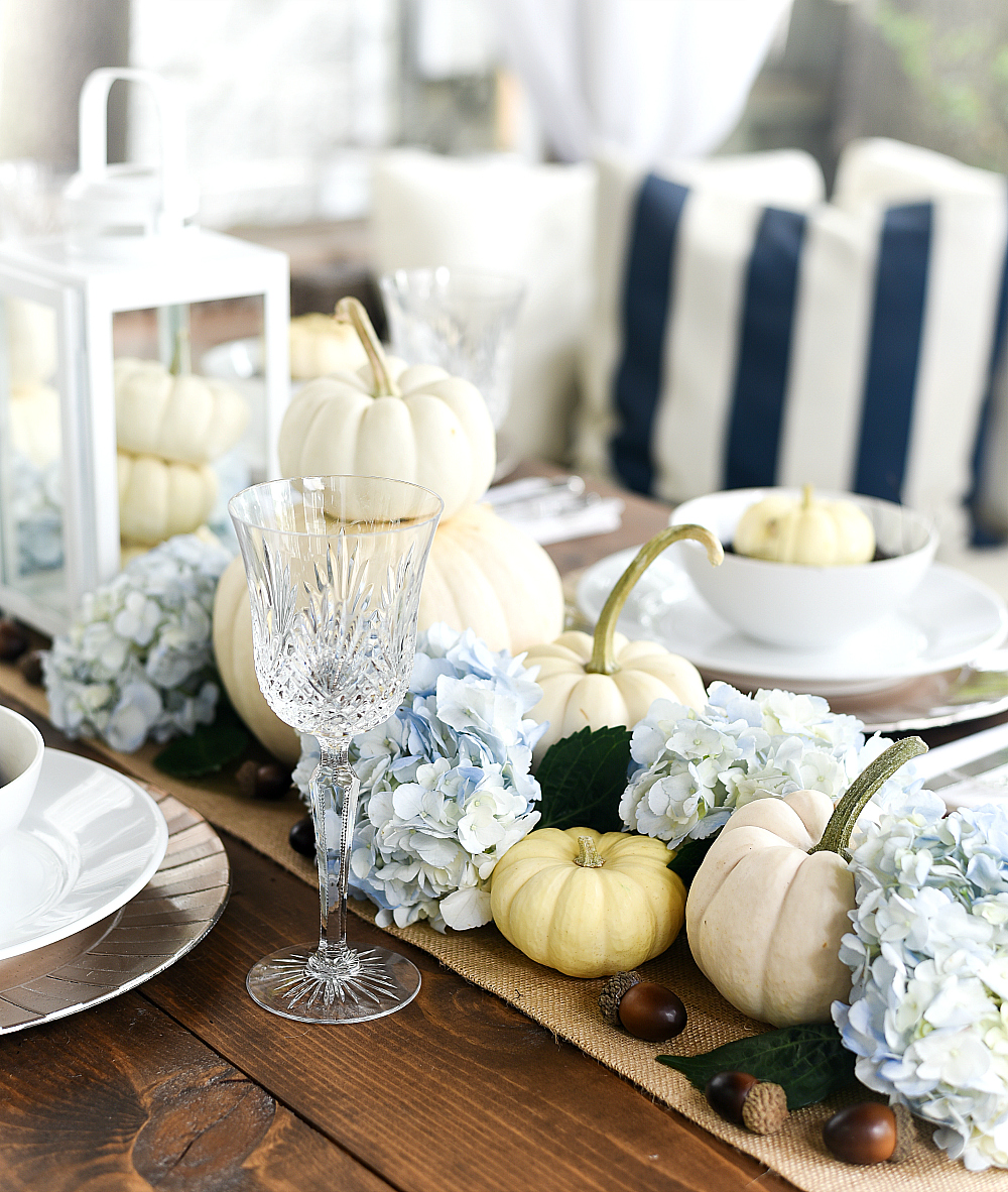Fall Centerpiece White Pumpkins and Hydrangeas