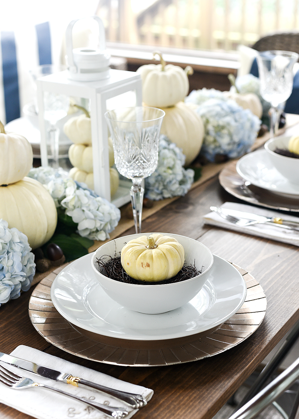 White Pumpkin Place Setting and Centerpiece for Fall