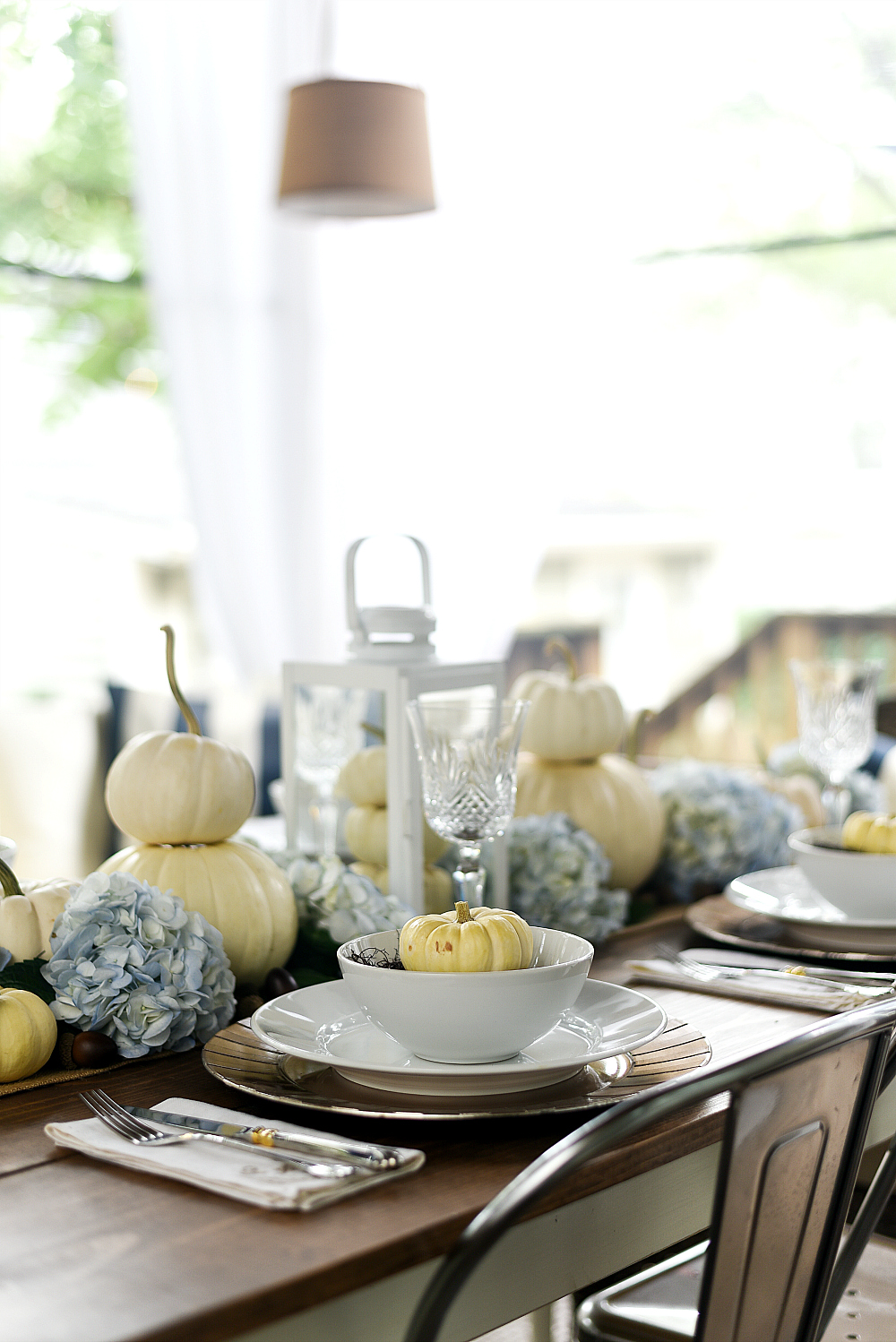 Table Setting for Fall - Ideas with White Pumpkins and Hydrangeas