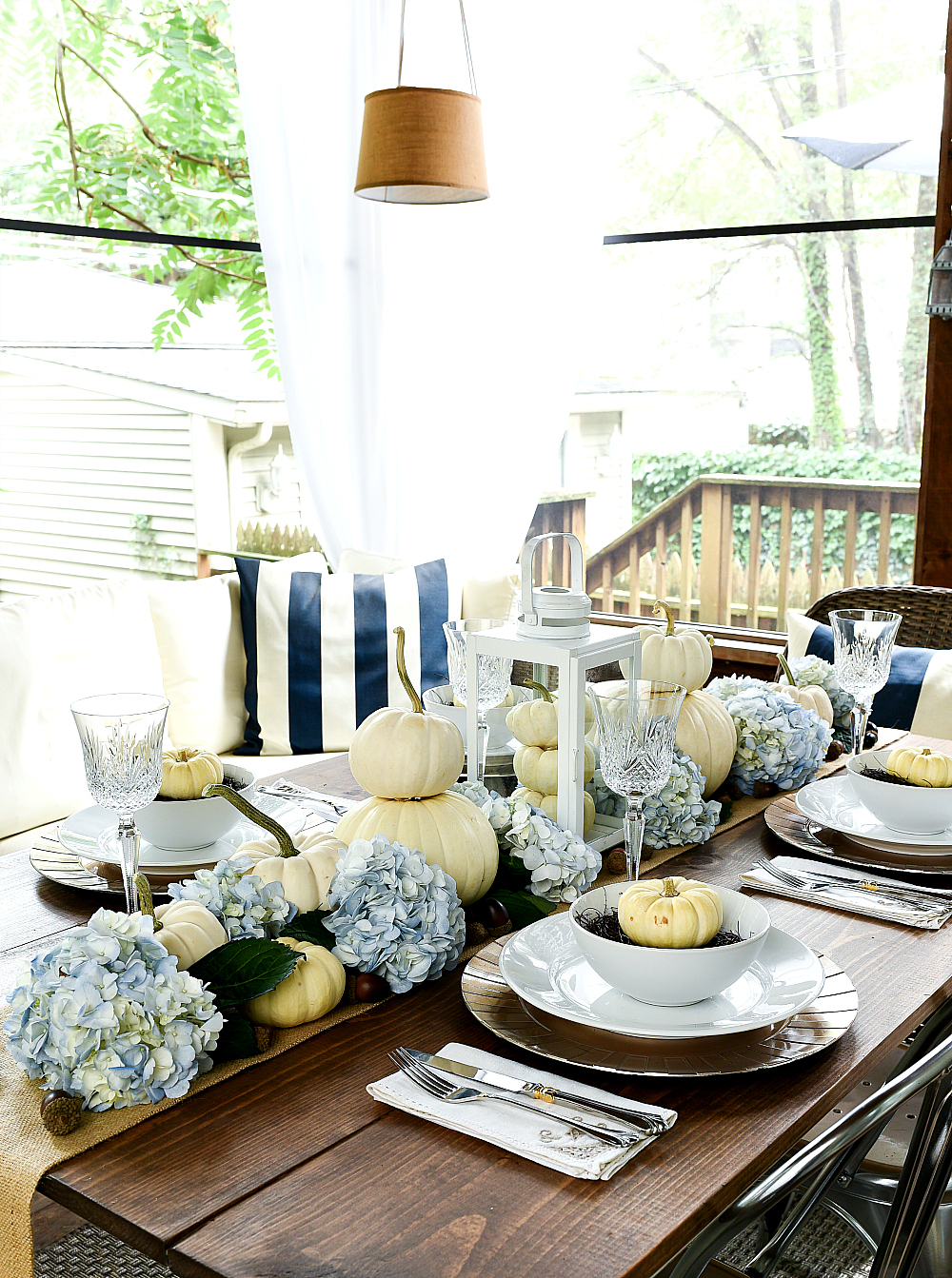 Pumpkin and Hydrangea Centerpiece for Fall