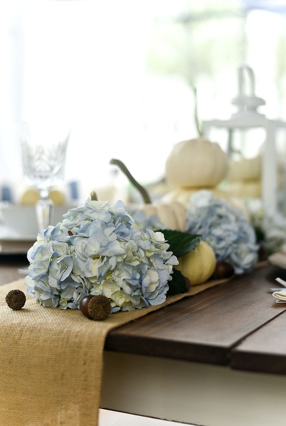 White Pumpkins and Hydrangeas Table Setting for Fall