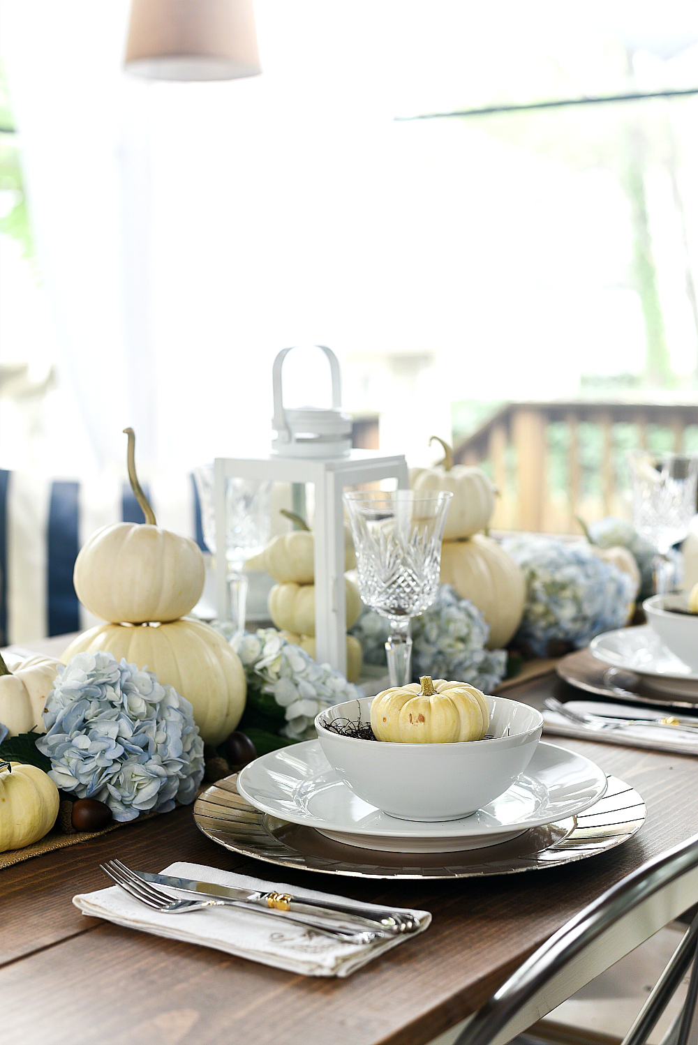 Thanksgiving Table with White Pumpkins and Hydrangeas