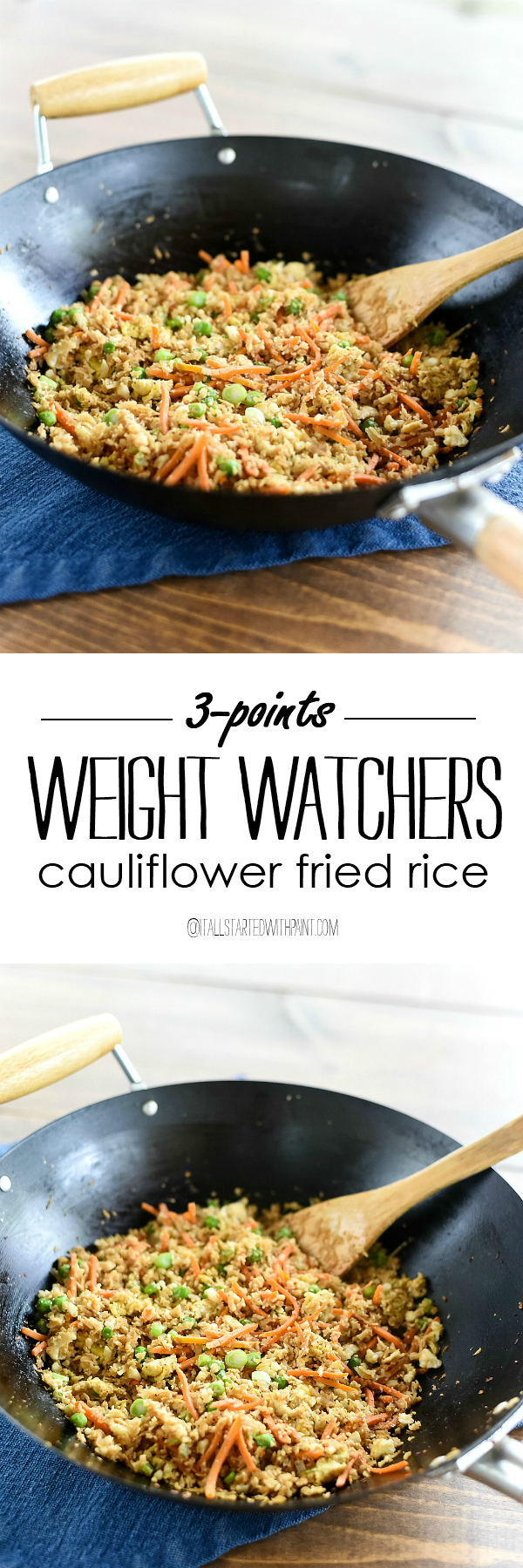 Weight Watchers Cauliflower Fried Rice - Cauliflower Recipe Ideas - Weight Watchers Entree Ideas - Low Point Weight Watchers Recipe Ideas