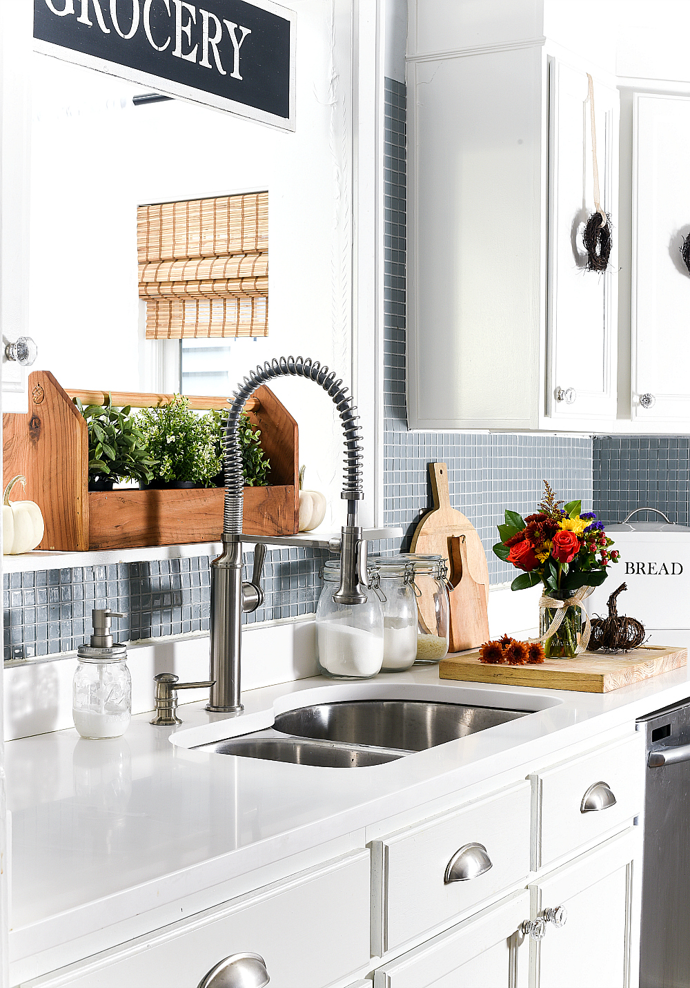 Fall in the Kitchen - White Kitchen cabinets, blue glass tile backsplash
