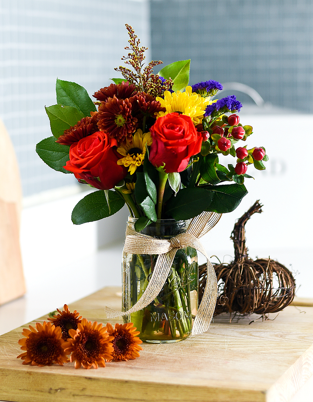 Fall Flowers in Mason Jar