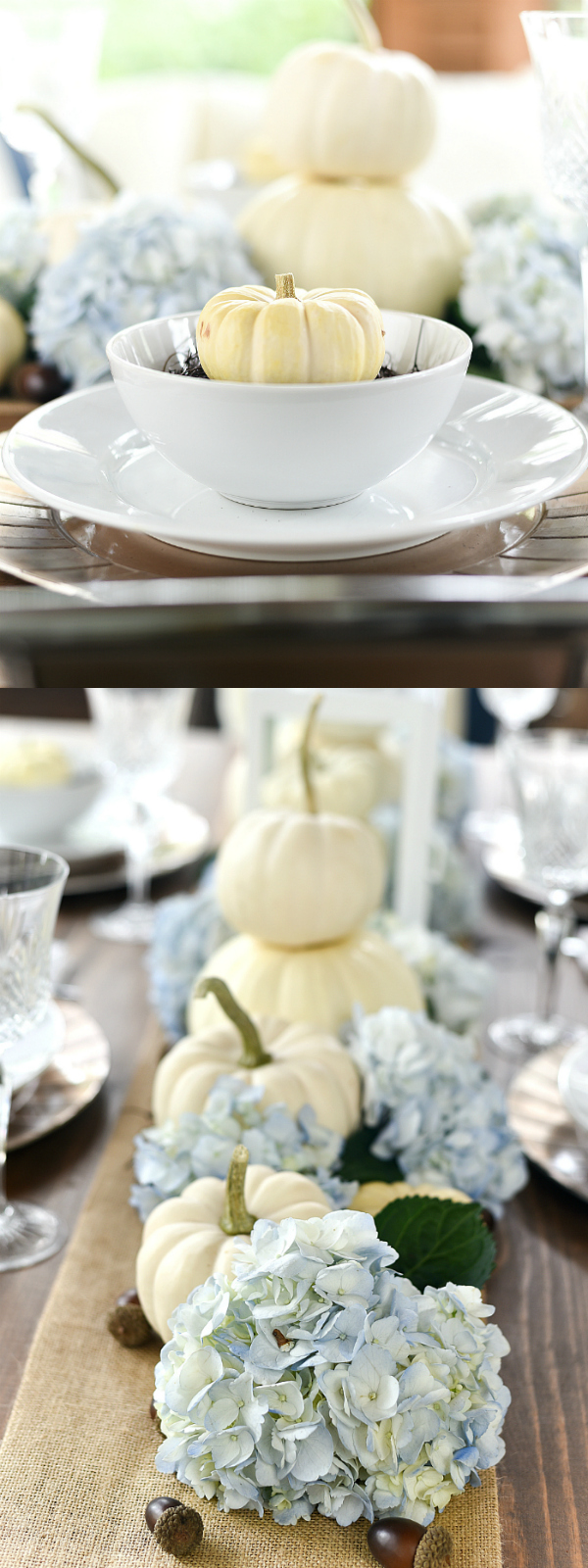 White Pumpkin & Hydrangea Centerpiece and Table Setting for Fall - Fall Table Setting Ideas - Fall Centerpiece with Pumpkins