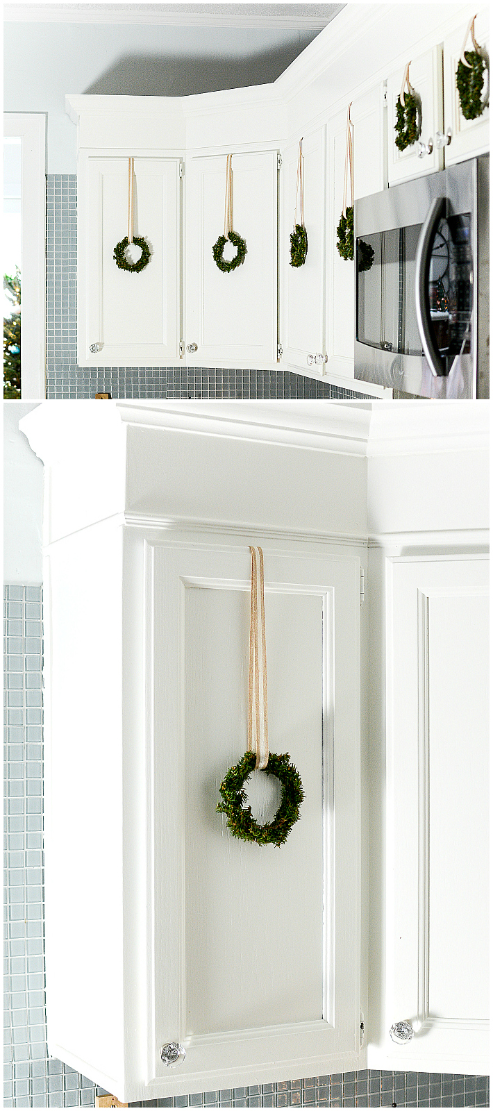 Decorating with Wreaths Indoors - Mini Wreaths on Kitchen Cabinets