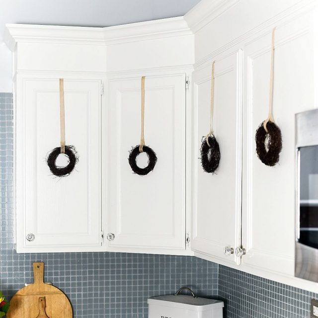 Grapevine wreaths on kitchen cabinet doors falldecor
