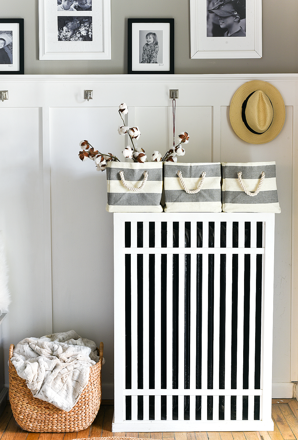 Radiator Cover Ideas - Board and Batten Entry with Dorian Gray Sherwin Williams Gray