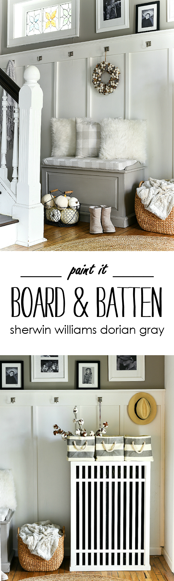 Board and Batten Entry with Sherwin Williams Dorian Gray