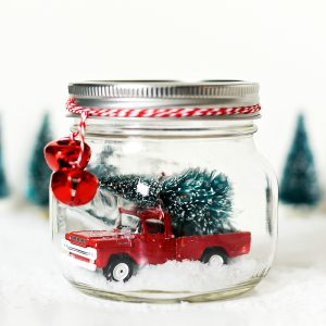 Vintage Truck in Mason Jar Snow Globe