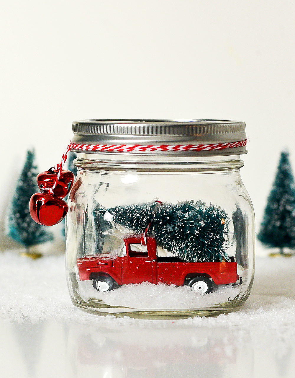 Vintage Truck in Mason Jar Snow Globe - Vintage Pick Up Truck Snow Globe