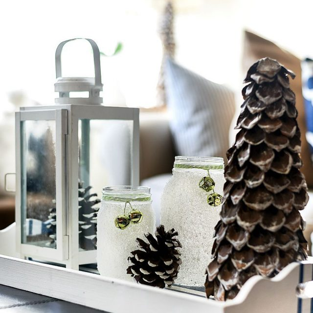 Snowy mason jar votives