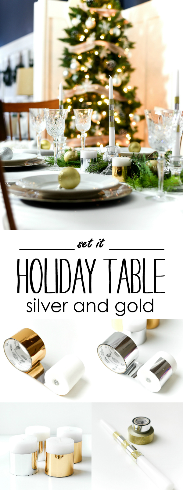 Silver Gold Holiday Table Centerpiece with Duck Tape Candles