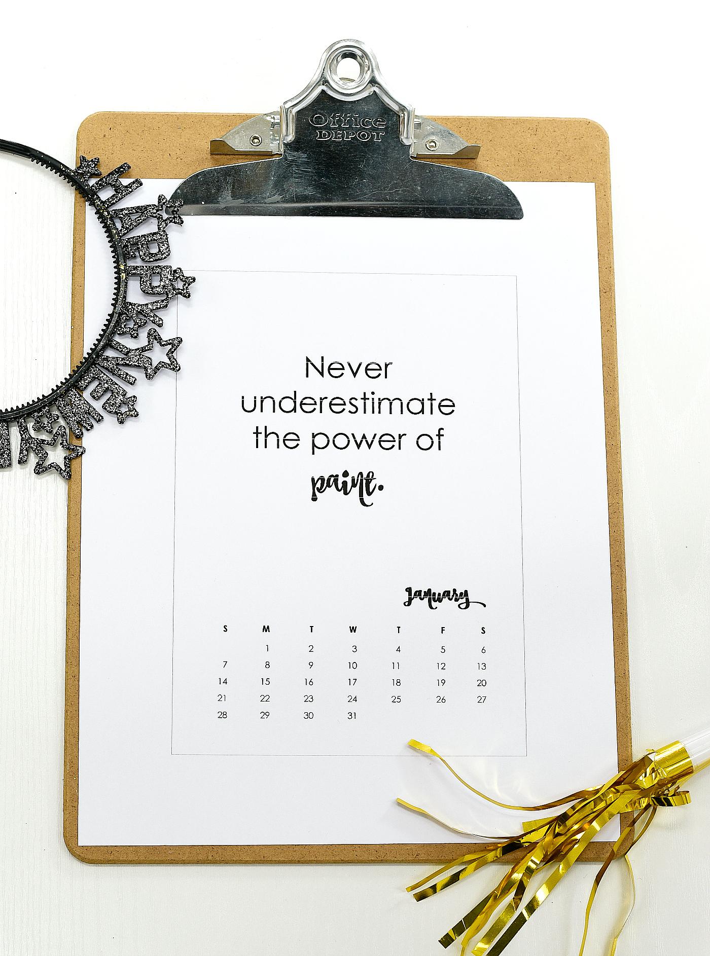2018 Calendar Page Printable