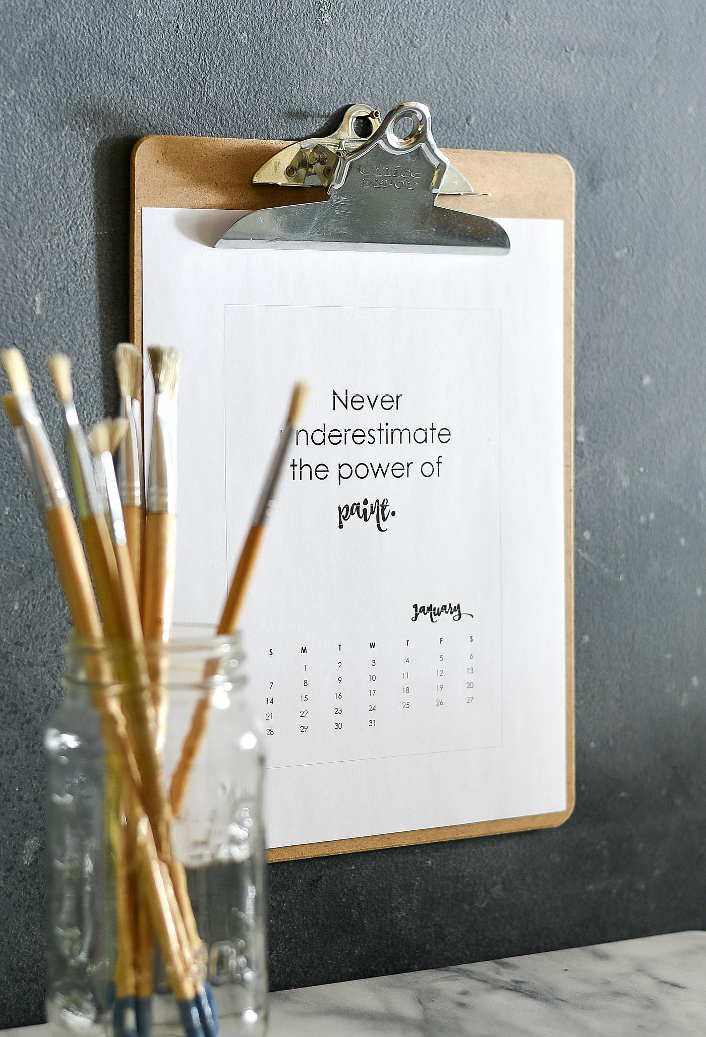 free calendar page 2018