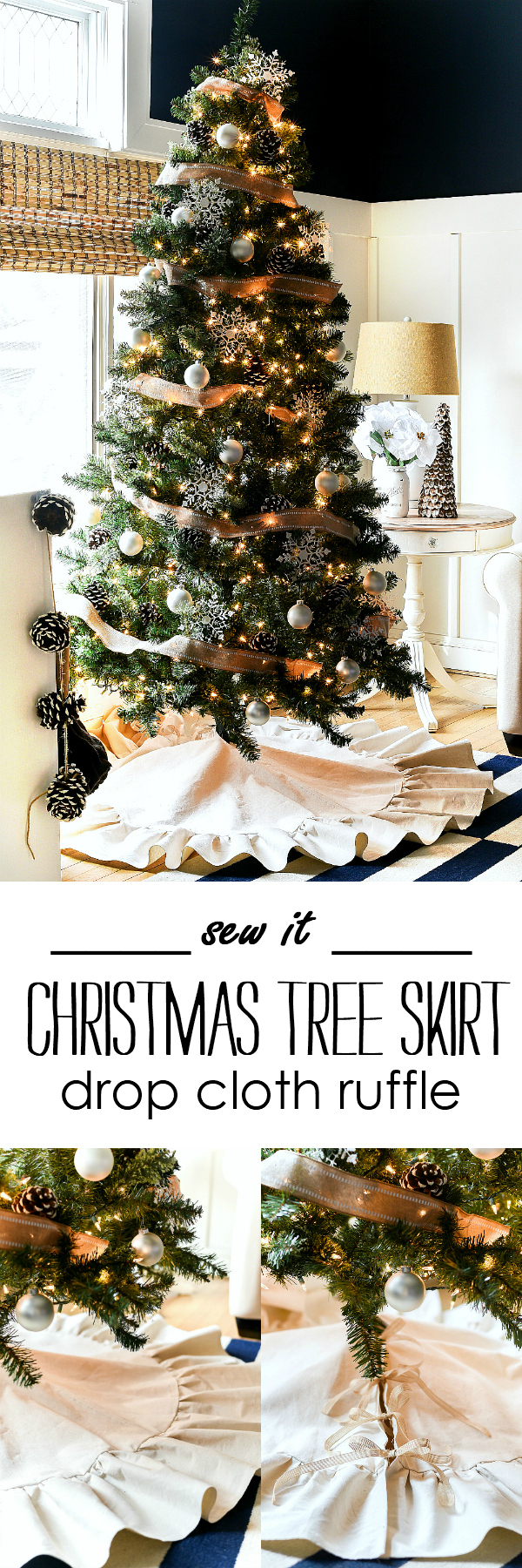 Drop Cloth Ruffle Christmas Tree Skirt - Easy Christmas Tree Skirt DIY - How To Make a Christmas Tree Skirt from Drop Cloth
