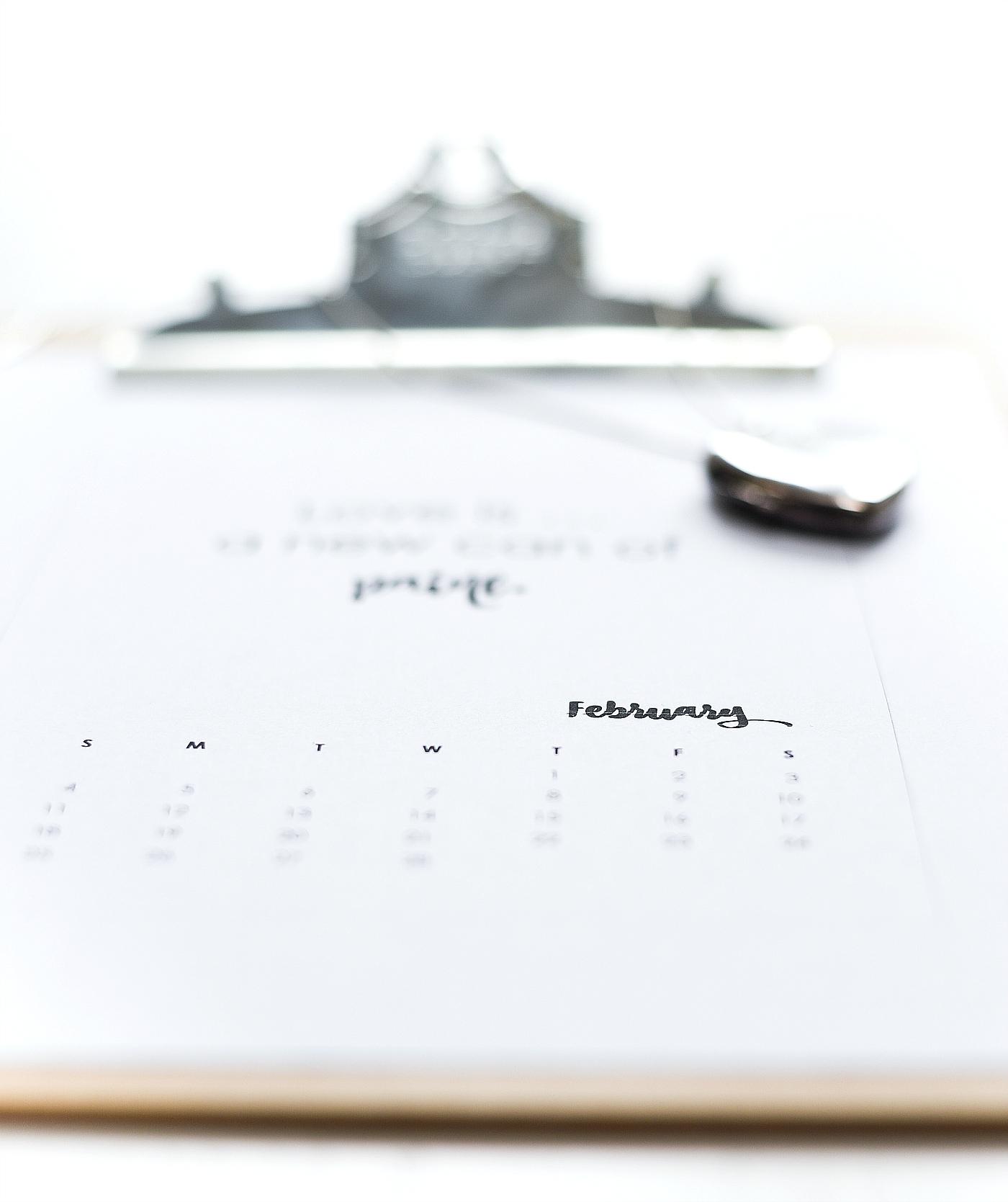 February Calendar Page Printable