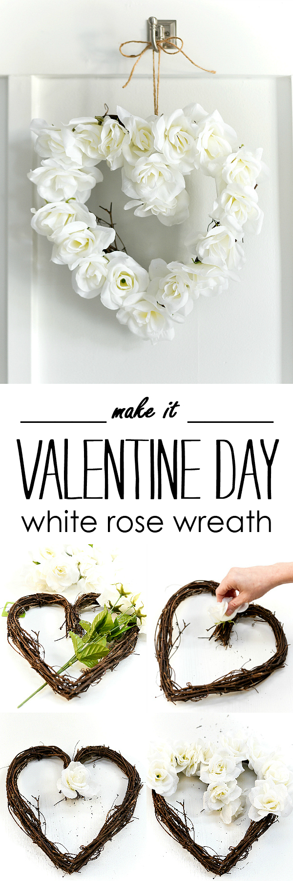 White Rose Valentine Heart Wreath - Neutral Valentine Decor Ideas - White Rose Heart Wreath