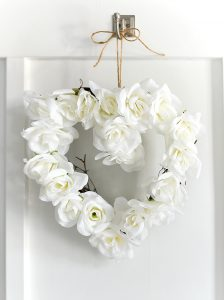White Rose Valentine Heart Wreath