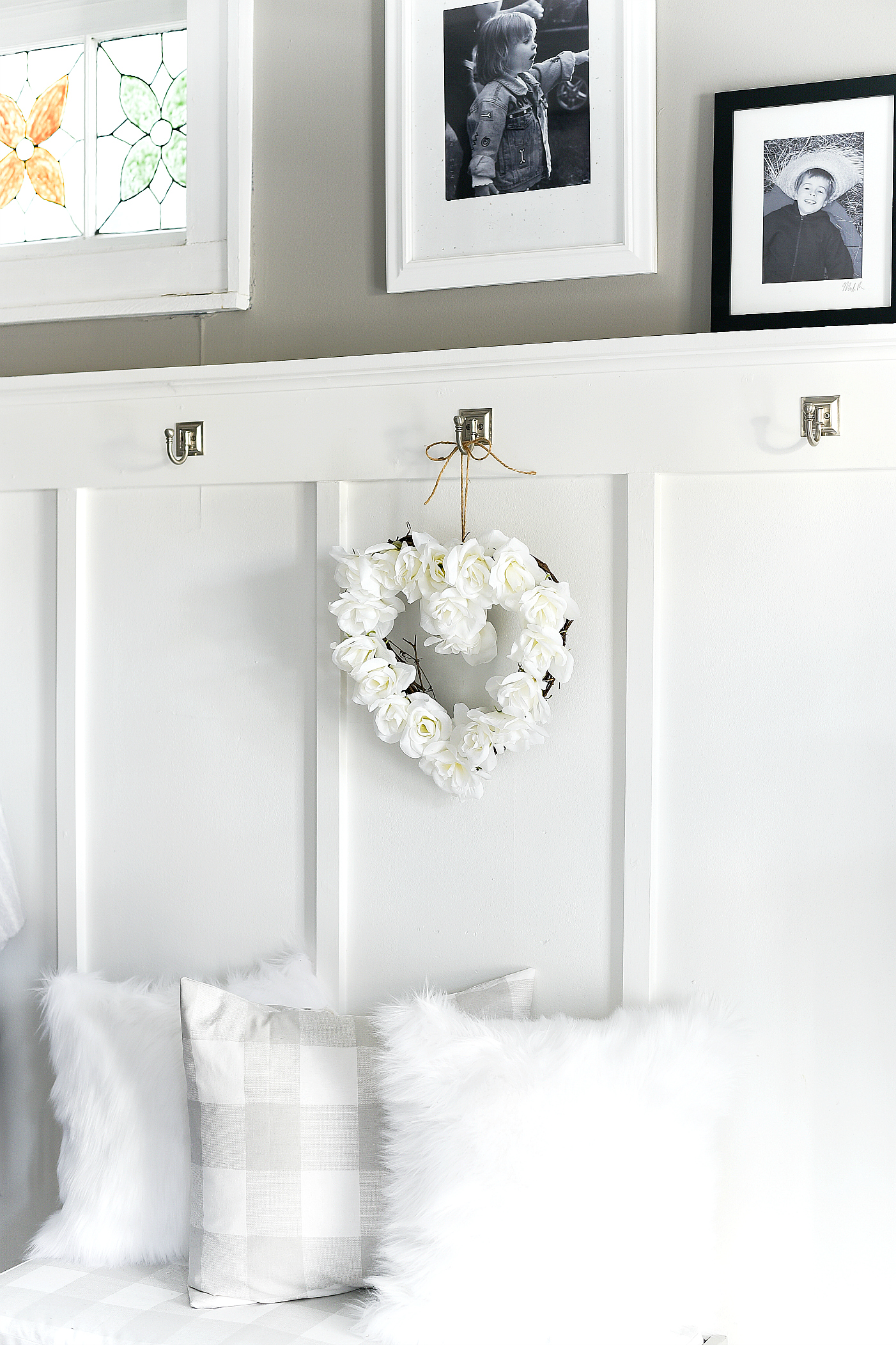 White Rose Valentine Heart Wreath - Neutral Valentine Day Decor Ideas