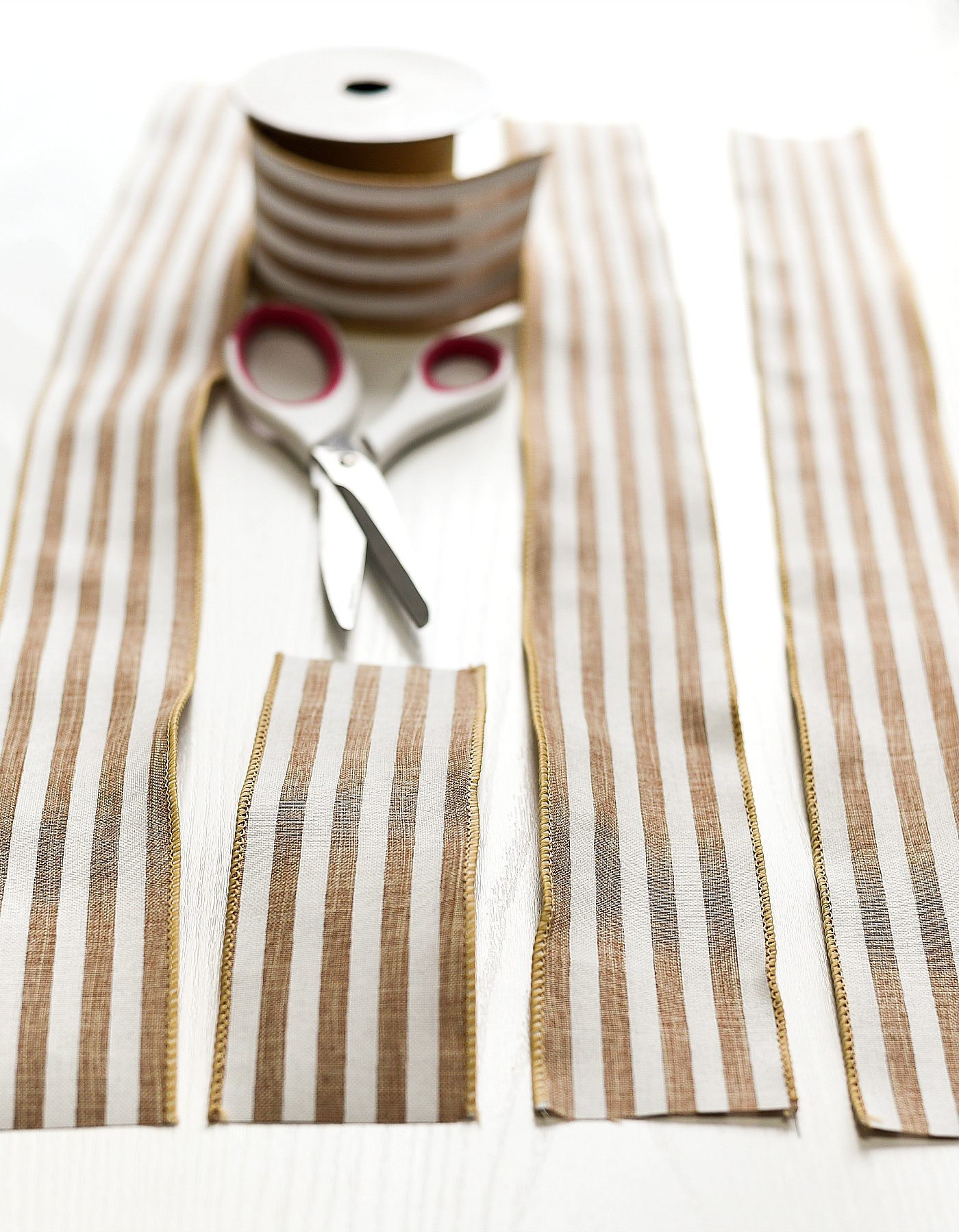 Burlap White Striped Ribbon - Wired Burlap Ribbon