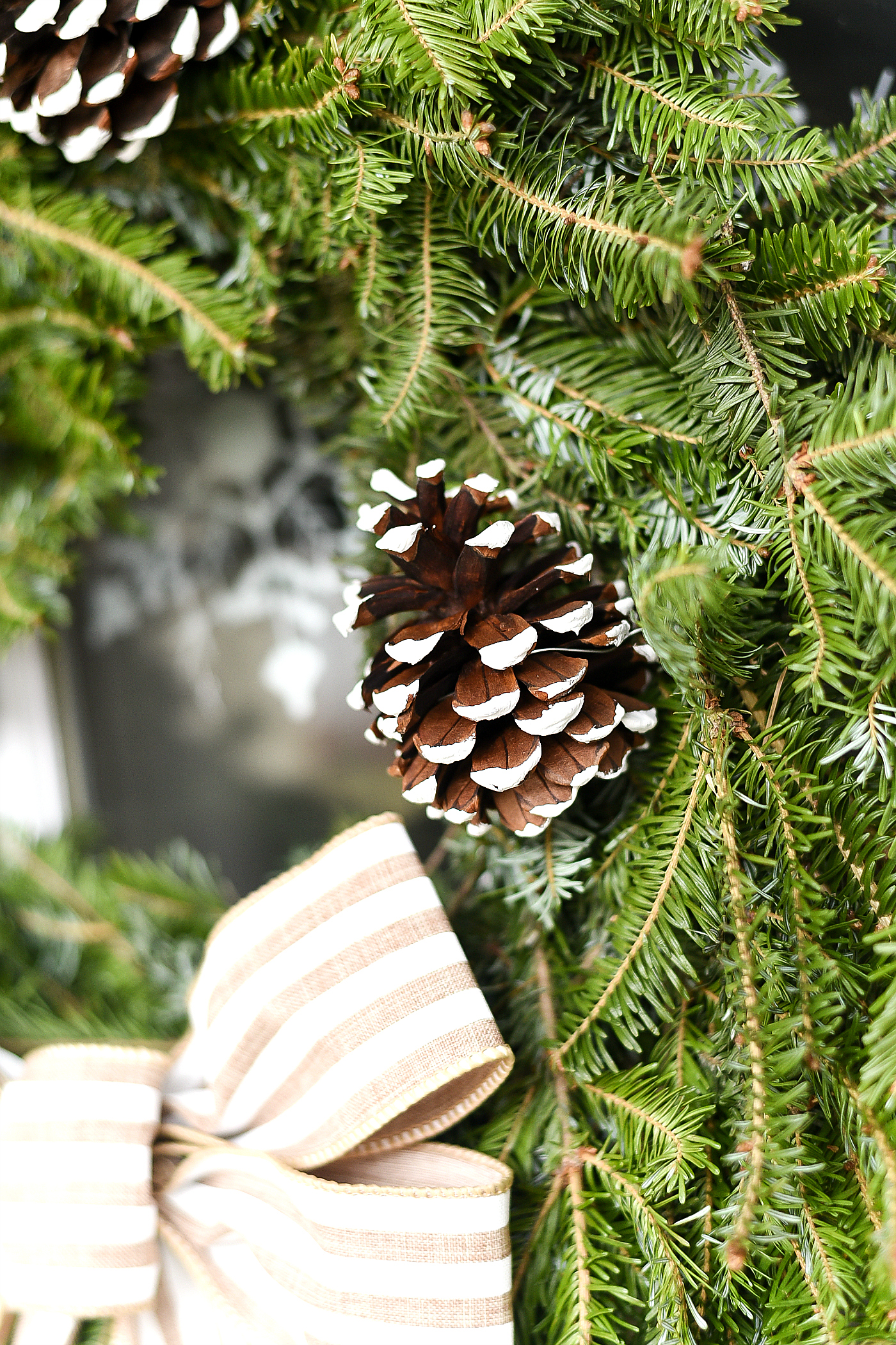 Painted Pine Cone on Wreath