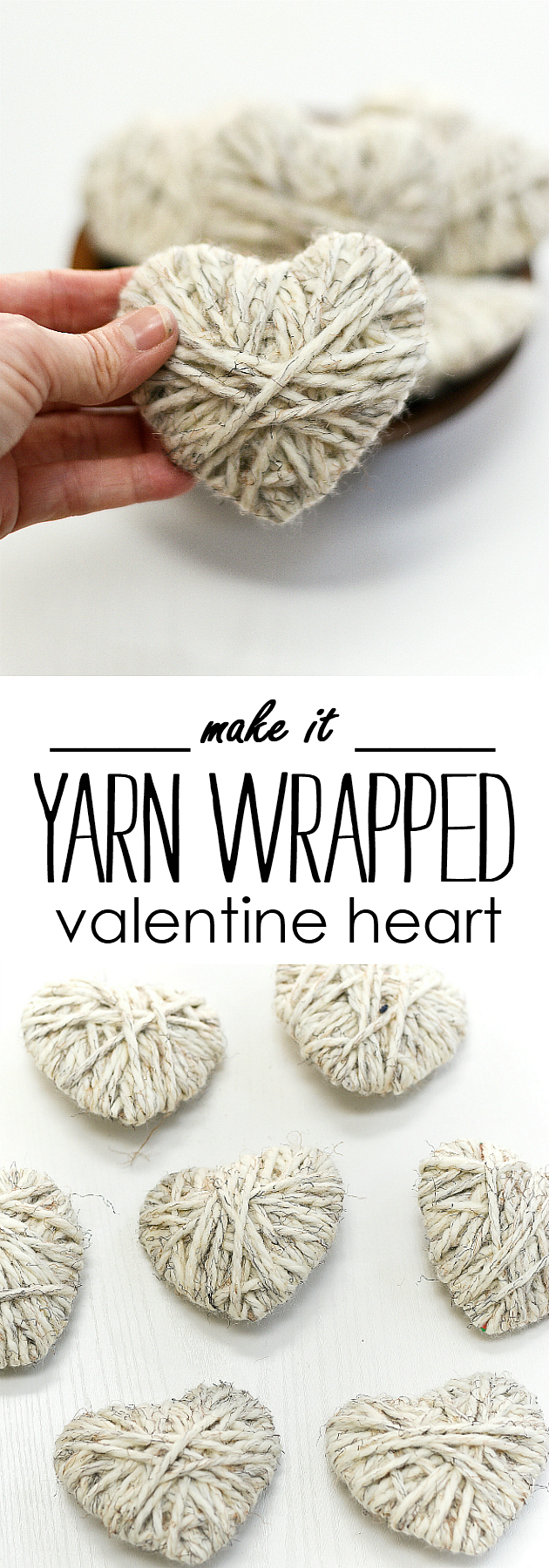 Yarn Wrapped Heart - Valentine Craft Idea in Neutral - Neutral Valentine Decor Ideas